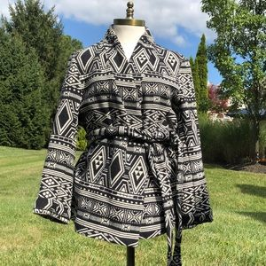 H&M Conscious black and white wrap jacket